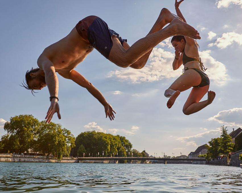 Schwimmen in der Aare, Solothurn
